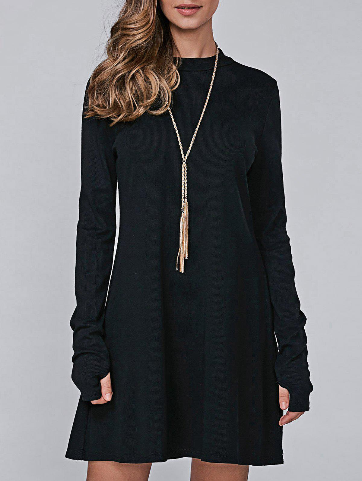 High Neck Long Sleeve Casual Jumper DressWOMEN<br><br>Size: L; Color: BLACK; Style: Casual; Material: Polyester; Silhouette: A-Line; Dresses Length: Mini; Neckline: High Neck; Sleeve Length: Long Sleeves; Pattern Type: Solid; With Belt: No; Season: Fall; Weight: 0.300kg; Package Contents: 1 x Dress;