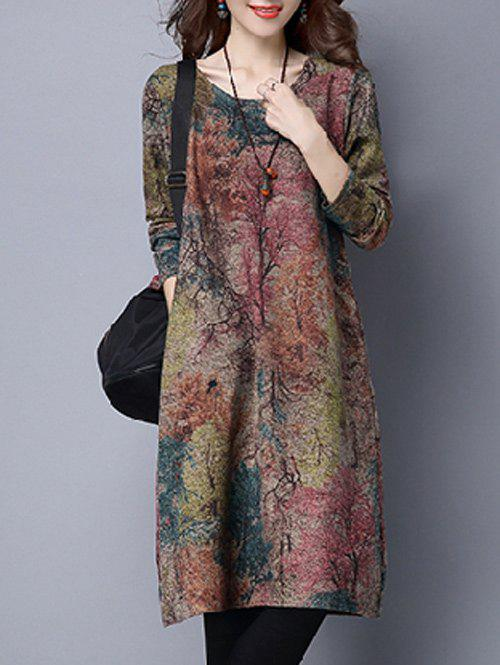 Maple Tree Print Loose-Fitting DressWOMEN<br><br>Size: L; Color: COLORMIX; Style: Vintage; Material: Polyester; Silhouette: Straight; Dresses Length: Knee-Length; Neckline: Scoop Neck; Sleeve Length: Long Sleeves; Embellishment: Pockets; Pattern Type: Print; With Belt: No; Season: Fall,Spring,Winter; Weight: 0.420kg; Package Contents: 1 x Dress;