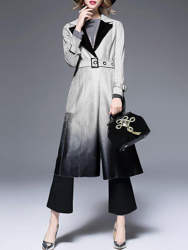 Outfits Lapel Suede Ombre Belted Coat
