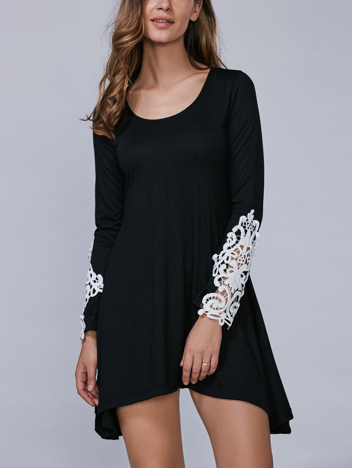 Cheap Asymmetric Long Sleeve Mini Dress with Lace