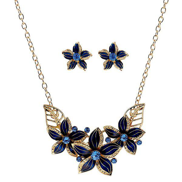 Chic Rhinestone Flower Necklace and Earrings