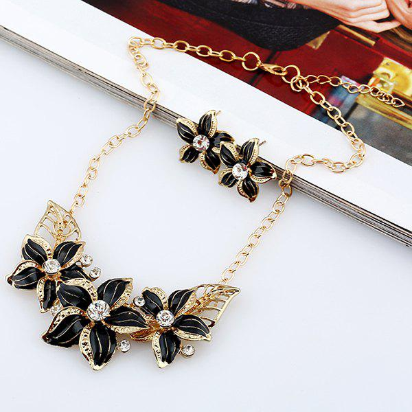 Rhinestone Flower Necklace and EarringsJEWELRY<br><br>Color: BLACK; Item Type: Pendant Necklace; Gender: For Women; Style: Noble and Elegant; Shape/Pattern: Floral; Weight: 0.070kg; Package Contents: 1 x Necklace 1 x Earring (Pair);