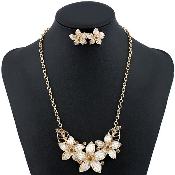 Rhinestone Flower Necklace and EarringsJEWELRY<br><br>Color: WHITE; Item Type: Pendant Necklace; Gender: For Women; Style: Noble and Elegant; Shape/Pattern: Floral; Weight: 0.070kg; Package Contents: 1 x Necklace 1 x Earring (Pair);
