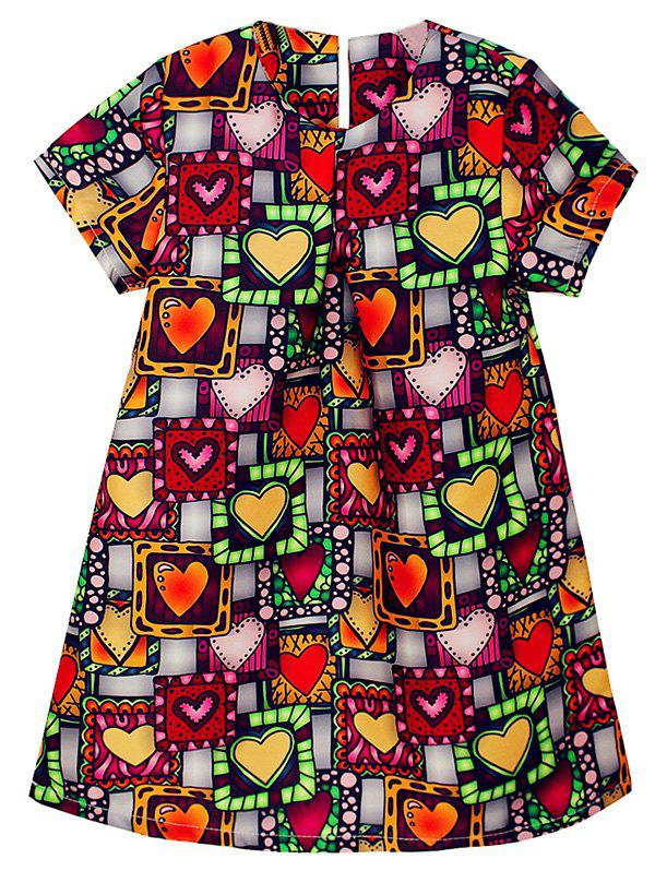Fancy Heart Print Short Sleeve A Line Dress