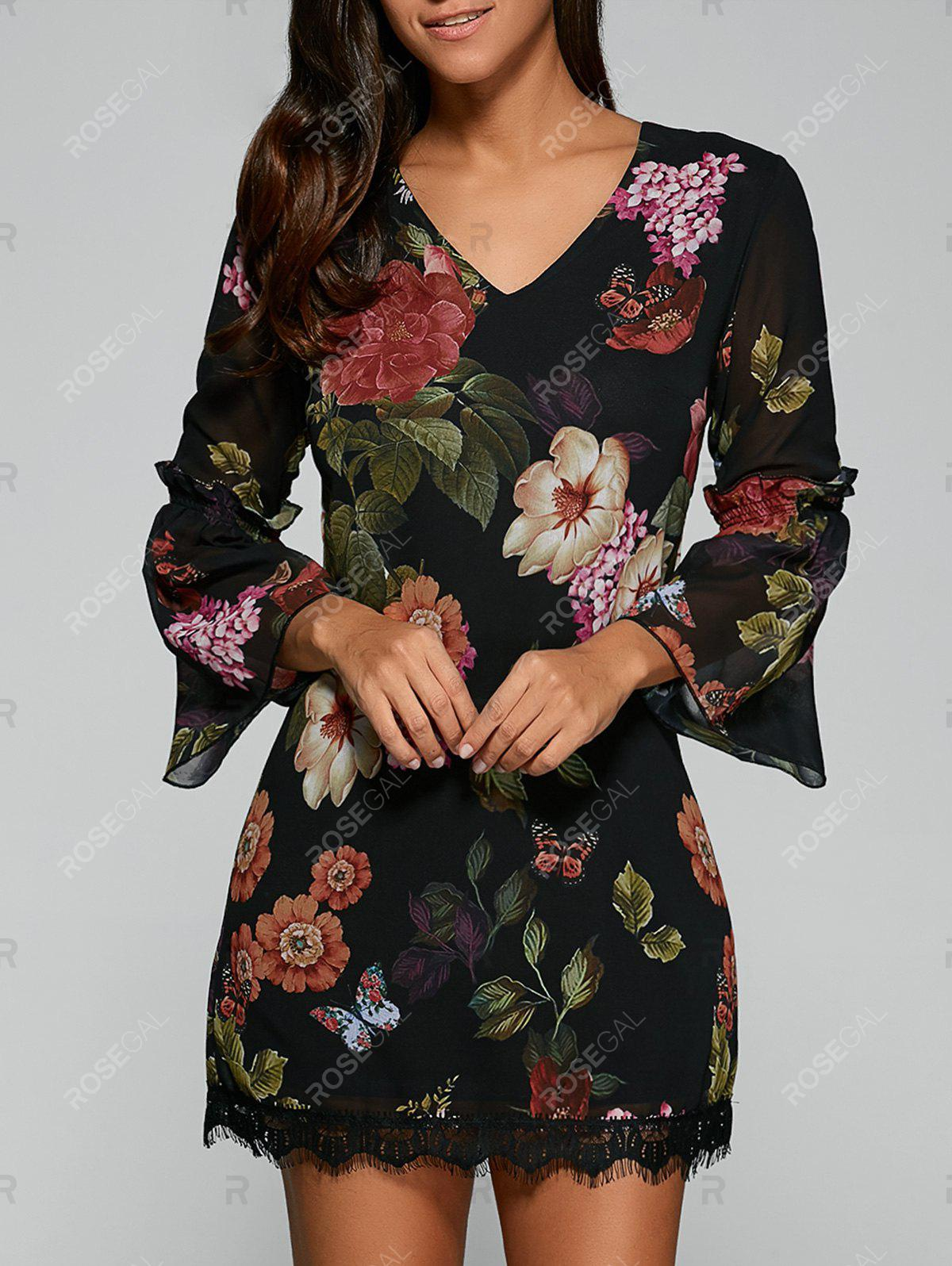 Bell Sleeves Floral Print Laciness DressWOMEN<br><br>Size: L; Color: BLACK; Style: Vintage; Material: Polyester,Spandex; Silhouette: A-Line; Dresses Length: Mini; Neckline: V-Neck; Sleeve Length: 3/4 Length Sleeves; Pattern Type: Floral; With Belt: No; Season: Fall,Summer; Weight: 0.197kg; Package Contents: 1 x Dress;