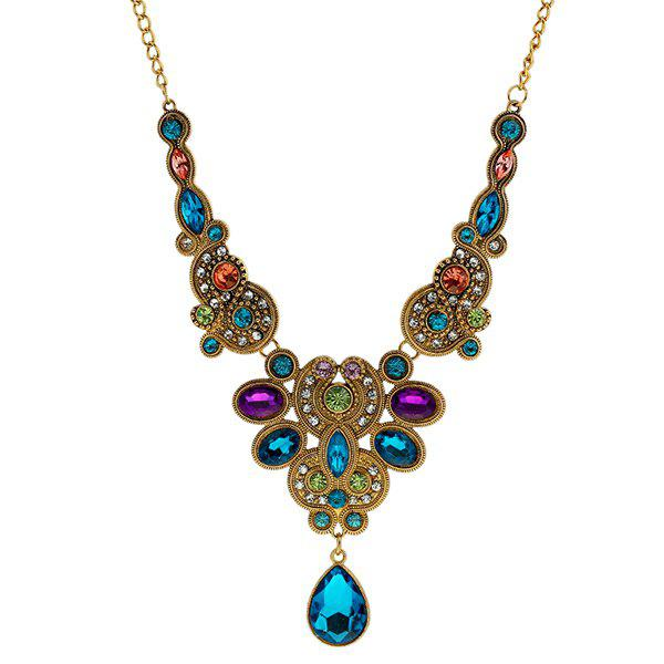 Faux Sapphire Amethyst Water Drop NecklaceJEWELRY<br><br>Color: GOLDEN; Item Type: Pendant Necklace; Gender: For Women; Style: Noble and Elegant; Shape/Pattern: Water Drop; Weight: 0.080kg; Package Contents: 1 x Necklace;