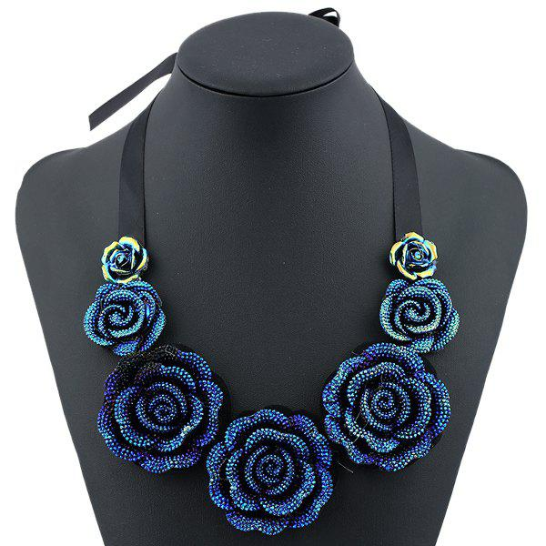 Rose Pendant Costume NecklaceJEWELRY<br><br>Color: BLUE; Item Type: Pendant Necklace; Gender: For Women; Style: Trendy; Shape/Pattern: Floral; Weight: 0.080kg; Package Contents: 1 x Necklace;