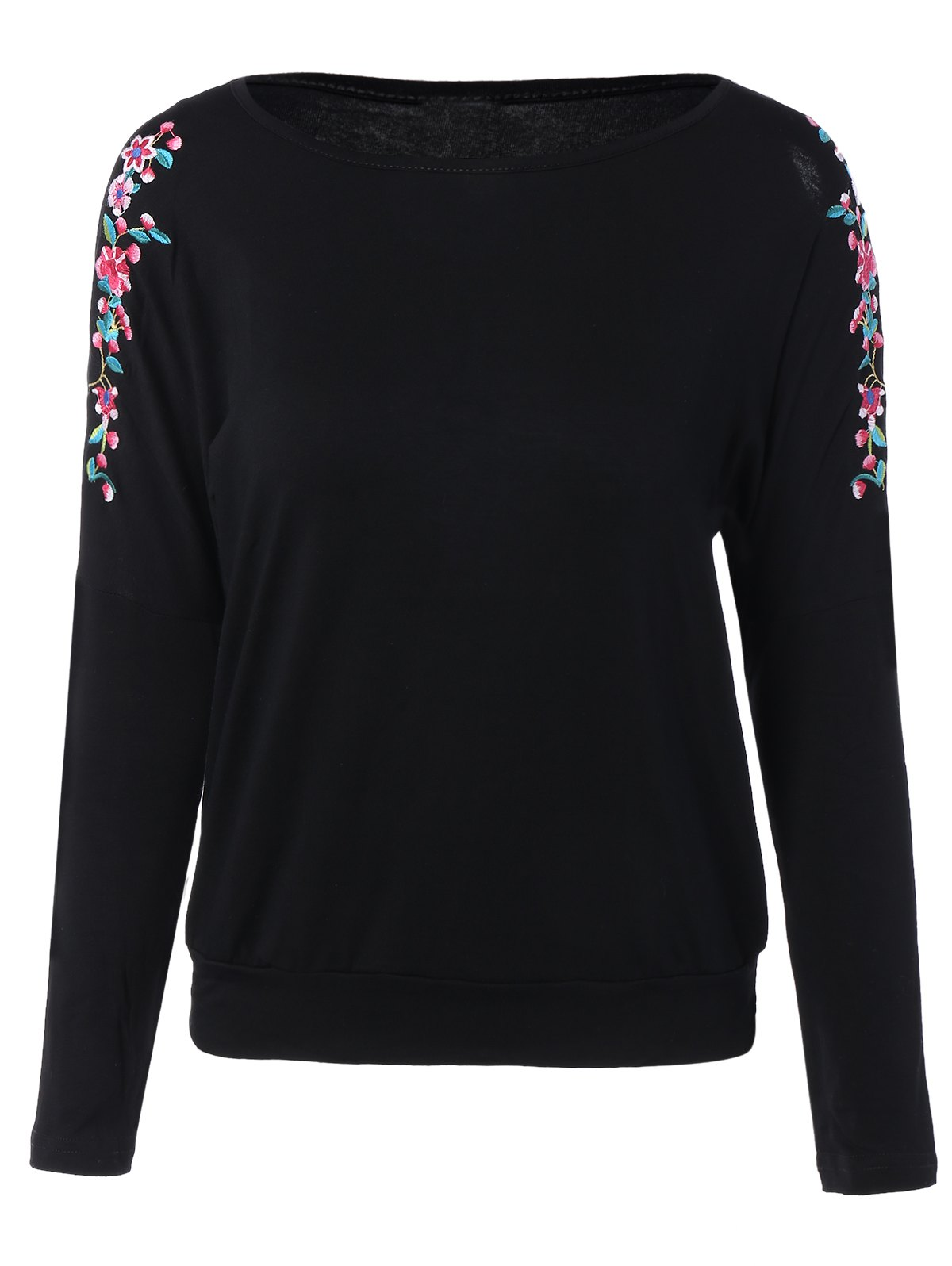 a3ebb2956c 2019 Floral Embroidered Cut Out Shoulder Long Sleeve Top | Rosegal.com