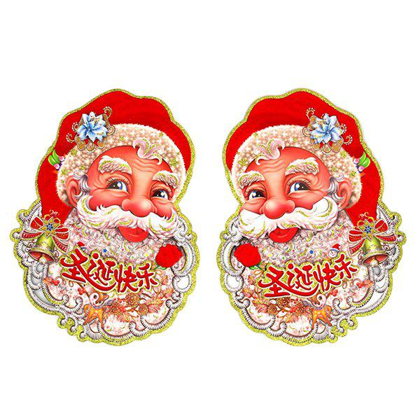 2PCS Christmas Party Supplies Senta Claus Wall Stickers DecorationHOME<br><br>Color: RED; Event &amp; Party Item Type: Party Decoration; Occasion: Christmas; Weight: 0.031kg; Package Contents: 1 x Wall Stickers (Pair);