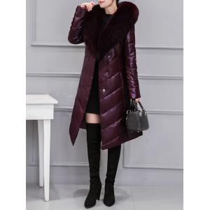Fur Collar PU Leather Quilted Coat