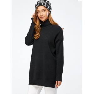 Drop Shoulder Turtleneck Pullover Long Sweater