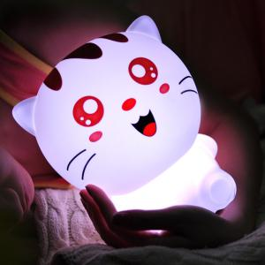 USB Rechargeable Cartoon Lovely Cat Colorful Remote Control Night Light - White