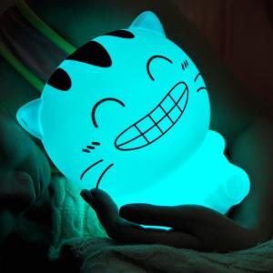 USB Rechargeable Cartoon Happy Cat Colorful Remote Control Night Light - White - Eu Plug