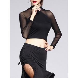 See-Through Trim Sheer Long Sleeve Crop Top - Black - L