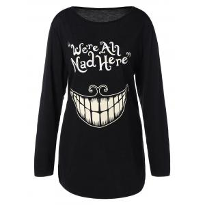 Plus Size Teeth and Letter Print T-Shirt