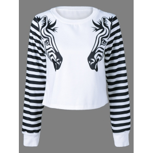Zebra Striped Pullover Sweatshirt