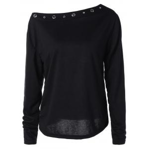 Hollow Out Rivet X-Long Sleeve T-Shirt