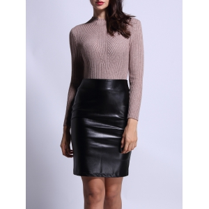 High Waist Faux Leather Back Slit Pencil Skirt