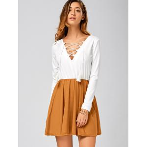 Long Sleeve Lace Up Short Skater Dress - White - L