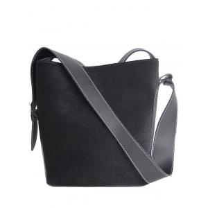 Splicing Corduroy Magnetic Closure Shoulder Bag