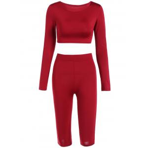 Cropped Sports Top with Shorts - Red - L