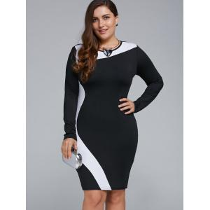 Plus Size Long Sleeve Bodycon Business Dress