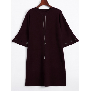 Bell Sleeve Loose and Fitting Knitted Dress - Wine Red - One Size