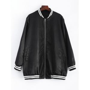 Plus Size Striped Hem Baseball Thin Bomber Jacket