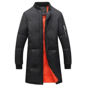 Rib Splicing Stand Collar Lengthen Cotton-Padded Zip-Up Coat