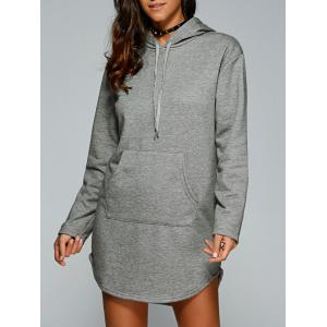 Drawstring Kangaroo Pocket Hoodie Dress - Gray - S