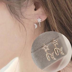 Rhinestone Star Moon Ear Cuffs - Rose Gold - One Size(fit Size Xs To M)