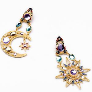 Asymmetric Rhinestone Sun Moon Earrings - Golden