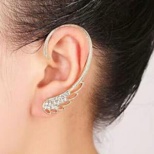 Rhinestone Angel Wing Ear Cuff - Golden - One-size