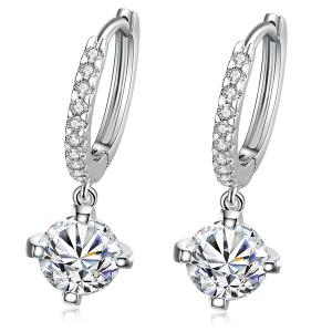 Rhinestone Circle Drop Earrings - Silver