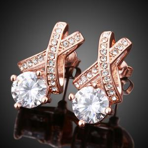 Alloy Rhinestone Geometric Earrings - Rose Gold