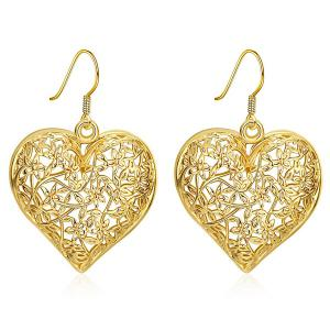 Filigree Floral Heart Drop Earrings - Golden - One-size