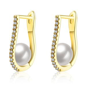 Rhinestone Artificial Pearl U-Shaped Earrings