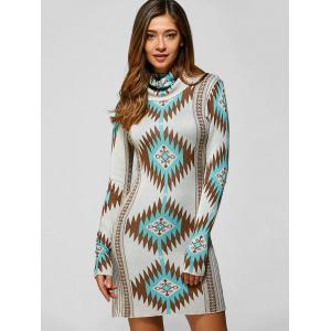 Turtle Neck Tribal Sweater Dress