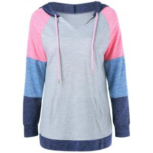 Patchwork Sleeve Drawstring Hoodie - Colormix - L