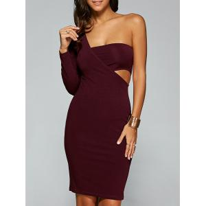 Backless One Shoulder Bandage Club Dress - Wine Red - L