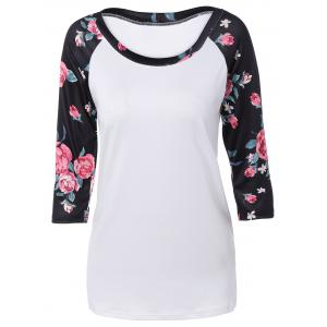Autumn Floral Print Sleeve Casual T-Shirt