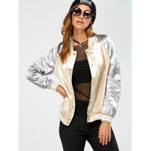 Autumn Lurex Color Block Baseball Jacket