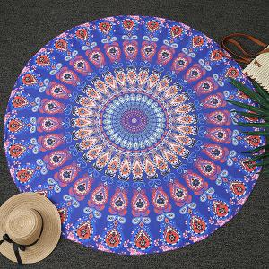 Romantic Bohemia Feather Mandala Vortex Print Round Beach Throw