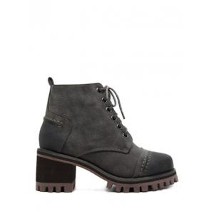 Lace-Up Chunky Heel Platform Ankle Boots - Gray - 38