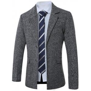 Lapel Single-Breasted Cotton Blends Wool Coat - Gray - M