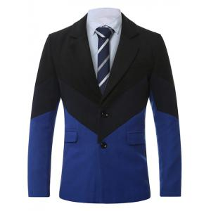 Lapel Single-Breasted Color Block Splicing Wool Coat - Sapphire Blue - 2xl