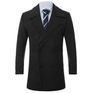 Turn-Down Collar Lengthen Double-Breasted Wool Coat - Black - 3xl