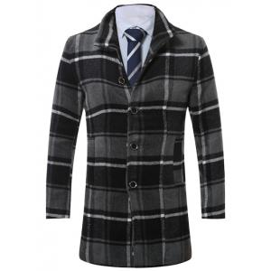 Lapel Single-Breasted Vintage Tartan Wool Coat