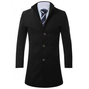 Stand Collar Single Breasted Longline Wool Coat - Black - 3xl