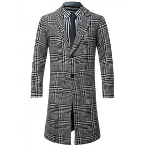 Lapel Single-Breasted Houndstooth Splicing Wool Coat - Black - 3xl
